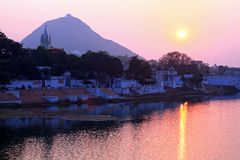 Ghats on pushkar lake, rajasthan, india. Night scene ghats on pushkar lake, rajasthan, india Stock Image