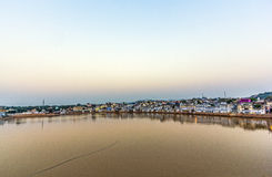 Ghats in Pushkar with lake view in early morning Stock Image