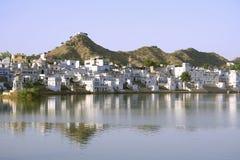 ghats pushkar Rajasthan jezioro obraz royalty free