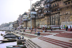 The ghats of Varanasi. The ghats and the ancient city of Varanasi. (all faces and names blurred Royalty Free Stock Photo