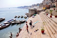 Ghats in Varanasi, India. Royalty Free Stock Photos