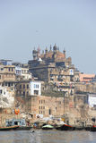 Ghats in Varanasi. View of gahts in Varanasi, India from the Ganges river Royalty Free Stock Photos