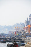 Ghats in Varanasi. View of gahts in Varanasi, India from the Ganges river Royalty Free Stock Photo