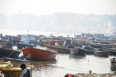 Ghats in Varanasi. View of gahts in Varanasi, India from the Ganges river Stock Photos