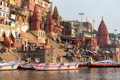 Ghats in Varanasi. A view of the ghats in Varanasi, India at sunrise, taken from a boat in the Ganges River Stock Photography