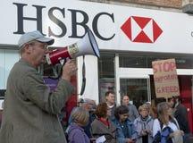 Ghee Bowmen protests outside HSBC Bank Stock Photo