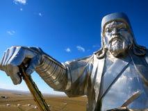 Ghenghis可汗头、身体、胳膊和雕象--Chiingis可汗 免版税图库摄影