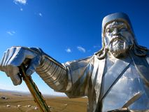 Ghenghis Khan Head, corpo, braccio e statua -- Chiingis Khan Fotografia Stock Libera da Diritti