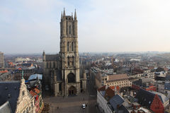 Ghent. Overview on the Saint Bavo Cathedral and the rooftops of the old city of Ghent in Flanders, Belgium royalty free stock images