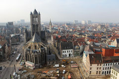 Ghent. Aerial view on the center of Ghent, Flanders, Belgium, from the Belfry tower royalty free stock photography
