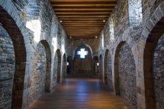 GHENT BELGIEN - DECEMBER 05 2016 - inre av den medeltida Gravensteen slotten i Ghent, Belgien Arkivbild