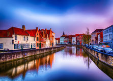 Ghent Belgien - härlig sikt över traditionella hus arkivfoto