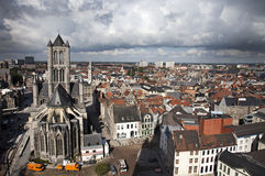 Ghent, Belgium. Bird's eye view of the Ghent city, Belgium royalty free stock photos