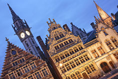 Ghent, Belgium. The historic architecture of Ghent, Belgium at dusk stock photos