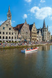 GHENT, BELGIUM - APRIL 6, 2008: Tour Boats And Graslei Street Royalty Free Stock Photography