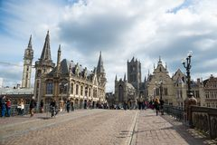 The Sint Michielsbrug bridge in Ghent, St Nicholas Church and Belfort, Belgium. stock photos