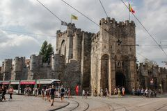 Medieval castle fortress in the city center royalty free stock photo