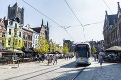 Tram circulating in the medieval city of Ghent, Belgium Royalty Free Stock Photography