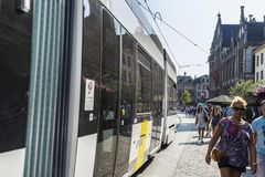 Tram circulating in the medieval city of Ghent, Belgium Royalty Free Stock Image