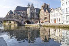 Ghent, Belgium. A beautiful summer morning in the medeival section of Ghent, Belgium royalty free stock images