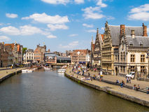 Ghent, Belgium. The historic center of Gent, channel and embankment. Ghent, Belgium stock photo