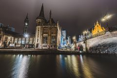Graslei Embankment by Night in Gent Stock Photos