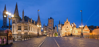 GHENT, BELGIUM - JUNE 24, 2012: Look from Saint Michael s bridge to Nicholas church and town hall in evening Stock Photos