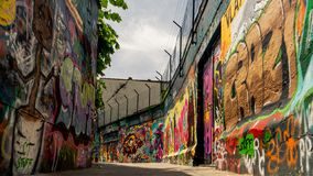 Artwork view on Graffiti street stock image