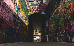 View down artwork on Graffiti street royalty free stock photos