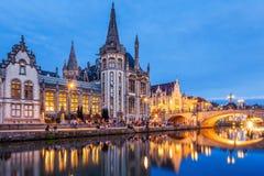 Ghent, Belgium. Medieval buildings overlooking the Graslei harbor on Leie river stock images