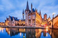 Ghent, Belgium. Medieval buildings overlooking the Graslei harbor on Leie river royalty free stock photos