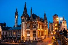 Ghent in Belgium at night Stock Images