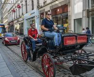 Riding horse cart on the street stock photos
