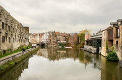 Ghent. BELGIUM - OCTOBER, 25: Nice houses in the old town of , Belgium on October 25, 2013.  is a city and a municipality located in the Flemish region of Stock Image
