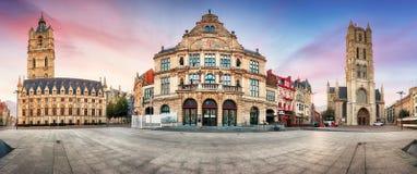 Ghent, Belgium panorama of Sint - Baafsplein square at sunrise, Stock Photo