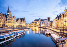 Ghent Belgium. Picturesque medieval buildings on Leie river in Ghent town, Belgium at dusk royalty free stock photos