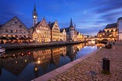 Ghent Belgium at twilight. Stock Photo