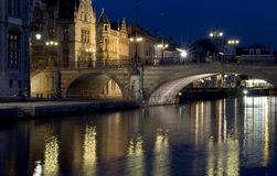 Ghent Bridge. Night time in Ghent, looking over the River Leie royalty free stock photography