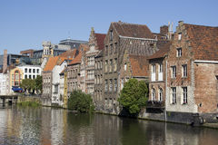 Ghent Canal. Canal and old houses in Ghent, Belgium royalty free stock image