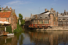 Ghent Canal. A canal scene from the city of Ghent in Belgium Royalty Free Stock Image