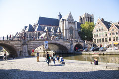 Ghent canal. Ghent, a charming town in Belgium royalty free stock photos