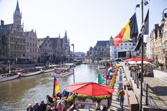 Ghent canal. Ghent, a charming town in Belgium stock photo