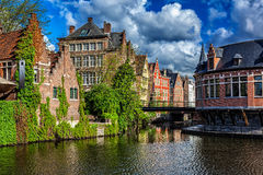 Ghent canal. Ghent, Belgium. Ghent canal and old houses, Ghent, Belgium stock photos