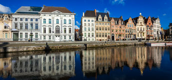 Ghent canal. Ghent, Belgium. Panorama of Belgium medieval european town with canal. Koperlei street, Ghent, Belgium stock photography
