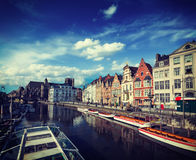Ghent canal. Ghent, Belgium Royalty Free Stock Photos