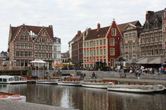 Ghent city in Belgium, canal view Stock Photo