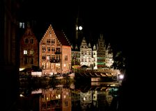 Ghent City in Night Royalty Free Stock Images