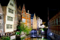 Ghent City in Night Royalty Free Stock Photography