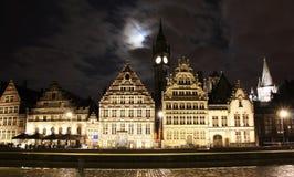 Ghent gammal stad på natten Fotografering för Bildbyråer