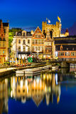 Ghent, Gent, Belgium. Ghent, Belgium. Graslei water channel with reflection Gravensteen Castle in night, Flanders stock image